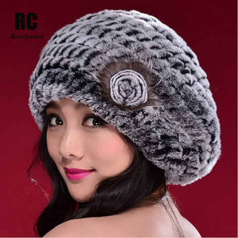 [Rancyword] Russia Genuine Rex Rabbit Fur Beanies Hats Women's Winter Hat Warm Casual Female Knitted Natural Fur Hat Caps RC1300