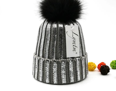 [Lymtm] Winter Adult Silver Snap Fastener Knitted Beanies Women Bronzing Faux Fur Pom Pon Skullies Caps Teenager Warm Fold Hat