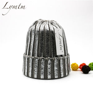 [Lymtm] Winter Adult Silver Snap Fastener Knitted Beanies Women Bronzing Faux Fur Pom Pon Skullies Caps Teenager Warm Fold Hat-modlily