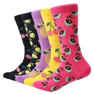 MYORED 5 pair/lot men's colorful funny socks cotton fruit series long socks for men causal dress bright multi-color wedding gift-modlily