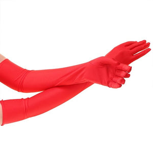 1 Pair Long Finger Elbow Sun Protection Gloves Opera Evening Party Prom Costume Fashion Gloves Black Red White-modlily