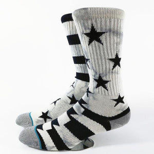 Men's Patriot Tie Dye Skate Socks USA Size M(6-8.5),L( 9-12) ,Euro Size 39-41.5,42-45-modlily