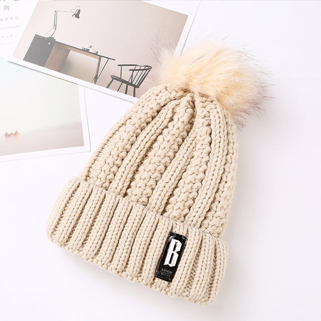 2017 ZMKF New Pom Poms Winter Hat for Women Fashion Solid Warm Hats Knitted Beanies Cap Brand Thick Female Cap Wholesale-modlily