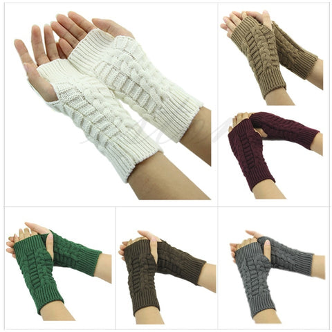 1Pair Fashion Women Knitted Fingerless Winter Gloves Unisex Soft Warm Mitten Free Shipping