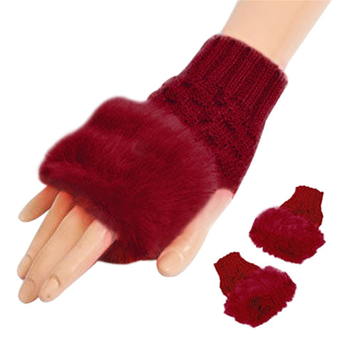 Wool Blend Faux Rabbit Fur Women Fingerless Gloves 2017 Fashion Knitted Winter Gloves Warm Fitness Mittens Gants Femme Warmer