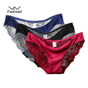 New Sexy Lace Plus size Women Panties Briefs Solid Seamless low rise Lingerie Underwear S-XXL 3 pieces/lot-modlily