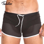 Taddlee Brand Board Shorts Boxer Trunks Swimwear Men Swimsuits Beach Shorts Black Solid Plus Size Quick Drying Gay Mesh Boxers-modlily