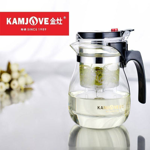 [GRANDNESS] TP-757 Kamjove Art Tea Cup * Mug & Tea Pot 700ml Glass Gongfu Teapot Maker Press-modlily