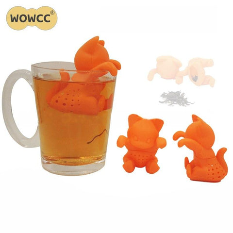WOWCC 2018 Creative Cartoon Kitten Tea Strainer Silicone Cute Cat Tea Infuser Lovely Orange Kitten Silicone Tea Tools-modlily