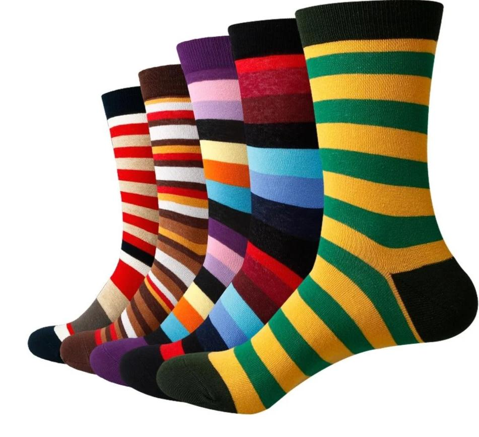 Match-Up Men Colored color stripes Cotton Socks argyle Casual Crew Socks (5 Pairs/Lot) US 7.5-12-modlily