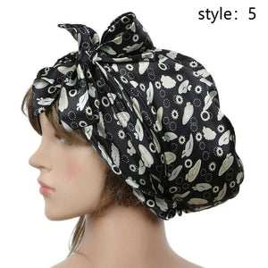 Women Fashion Sleeping Bonnet Cap Soft Pure Silk Sleep Hats Hair Care Wrap Female Night Cap 10 kinds of color-modlily