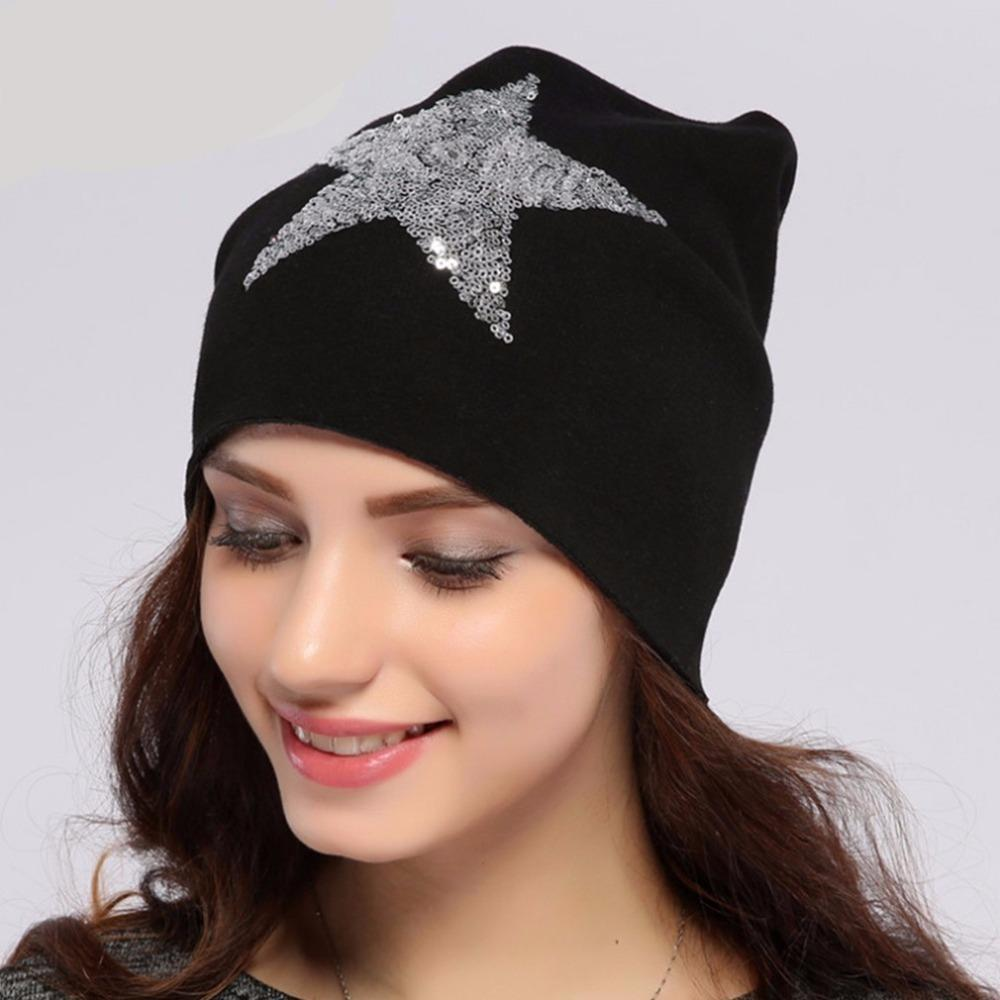 Geebro Women's Star Sequins Beanies Hat Spring Plain Knit Cotton Slouchy Beanie For Women Skull Cap Balaclava Hats for Ladies-modlily