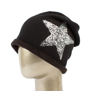 Women Star Sequins Beanies Hat Spring Plain Knit Cotton Slouchy Hats For Ladies