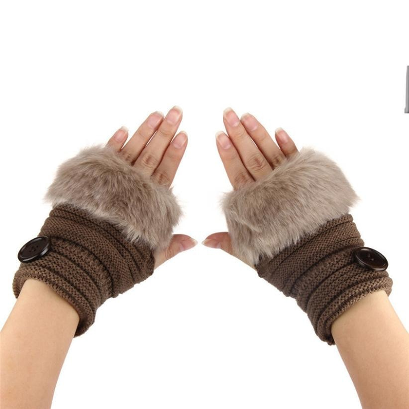 Women Warm Gloves Fashion 2018 Spring Autumn Winter Faux Rabbit Fur Wrist Fingerless Mittens Knitting Glove Guantes Mujer #9-modlily