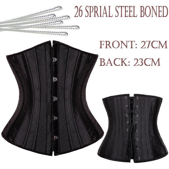 b45e8fc2200 26 Spiral Steel Boned Floral Tight Underbust Waist Corsets TOP Cincher  Bustiers Lingerie Lace Up PLUS