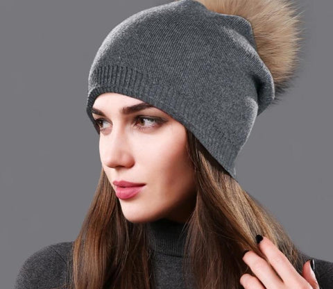 [Sole Crowd] Beanies natural real raccoon fur pompom hats autumn winter warm women knitted wool cap fashion female hat skullies