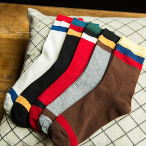 Rockbottom Men's socks Style Stripe Splice Gradient Color brand elite Breathable long cotton socks for Happy men wholesale socks-modlily