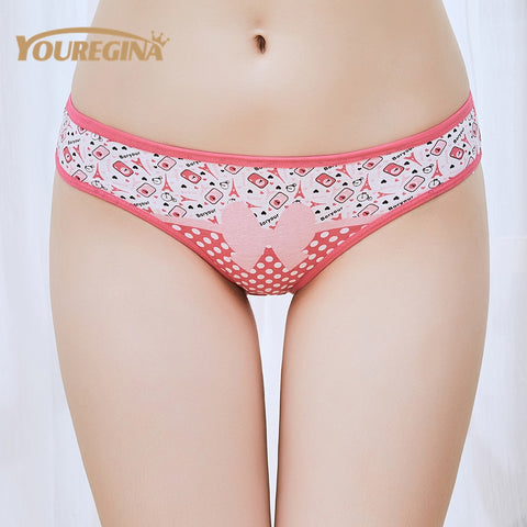 YOUREGINA Woman Underwear Women's Cotton Briefs Solid Cute Bow Low-Rise Sexy Ladies Girls Panties Lingerie printin (1 piece)-modlily