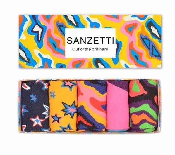 SANZETTI 5 pair/lot Gift Box Colorful Men's Crew Combed Cotton Trendy SkateBoard Socks Fashion Casual Wedding Sock For Male-modlily
