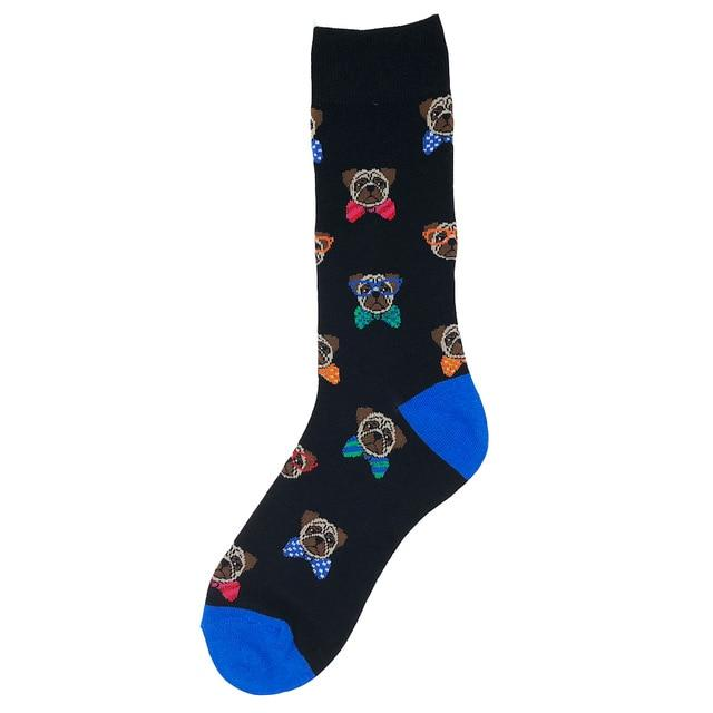 YEADU Big Size Men's Long Dress Socks Cotton Business Colorful Letter Animal Happy Crew Funny Sock Best Gift-modlily