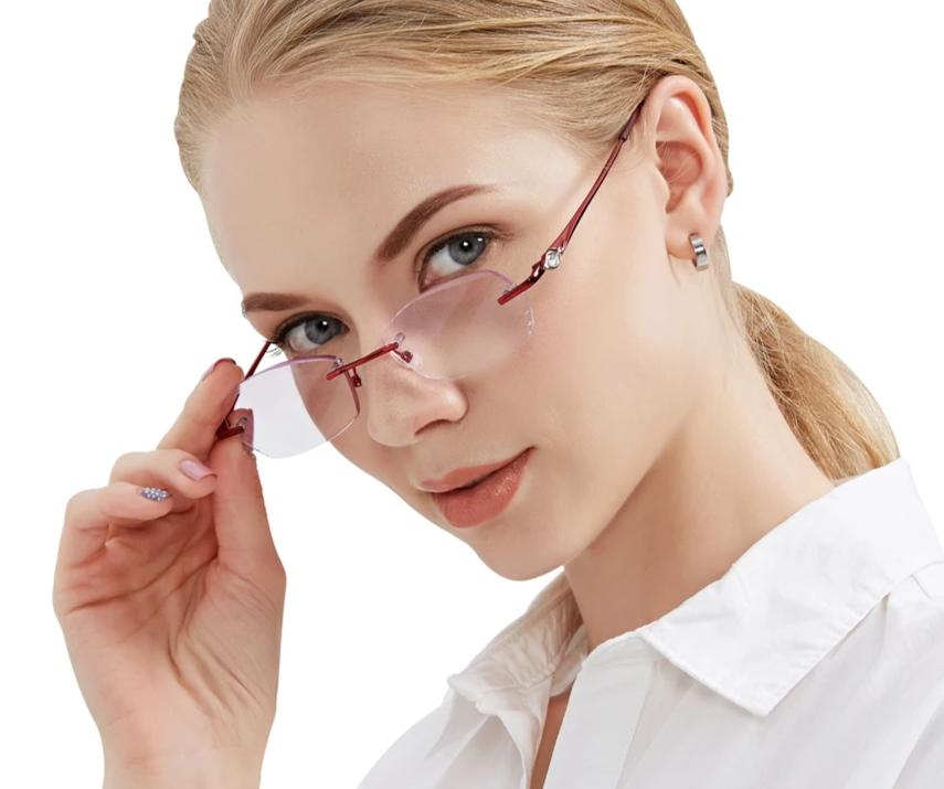 Fashionable Reading Glasses Women Purple Resin Lenses Eyewear Ladies Rimless Eyeglasses Lightweight Female Reader Glasses-modlily