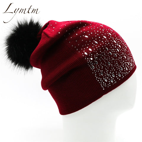 [Lymtm] 2018 Stylish Women's Winter Warm Hat Wine Red Rhinestones Design Beanies Skullies Safety Pin Faux Fur Pompom Elastic Cap