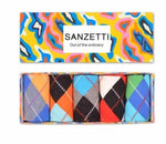 SANZETTI 5 pairs/lot Gift Box Funny Men's Colorful Argyle Combed Cotton Socks Novelty Crew Dress Socks For Male US Size 7.5-12-modlily
