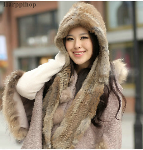 2017 new spring fur hat women's cap thermal with a hood rabbit fur scarf cap connected free shipping