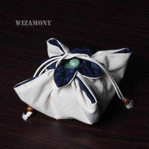 WIZAMONY Teapot Jadeware Storage Bags Thicken Draw Cord Handmade Signature Cotton with Soft Nap Hop-pocket Cloth Bag