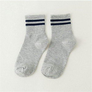 NEW Classic Two Stripes Cotton Socks For Men Fashion Skate Unisex Sock Retro Old School Student Hiphop Female Socks Girls-modlily