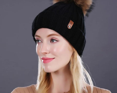 351d7e5dbaf04f [FLB] Wholesale Real Mink Fur Pom Poms Knitted Hat Ball Beanies Winter Hat  For