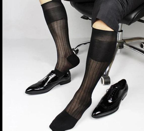Super Quality Men TNT Nylon Silk socks Sheer Formal Dress Socks Sexy Gay Transparent Stripe Business TNT socks-modlily