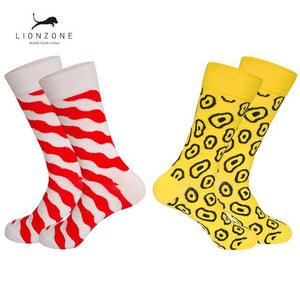 Brand Combed Cotton Mens Happy Socks Explosion Star Stripes Novelty Wedding Design Colorful Men Socks Buy 3Lots Get 1Pair Free-modlily