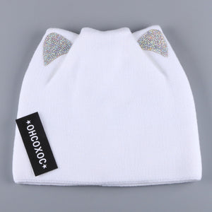 OHCOXOC New Design Women Beanies Skullies Princess Girl Cute Autumn Winter Hat Cap With Cat Ears Shiny Rhinestone Solid Color-modlily