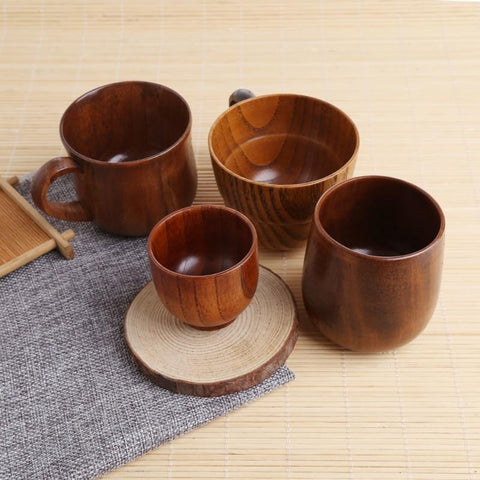 Wooden Cup Primitive Handmade Natural Wood Coffee Beer Juice Milk Tea Cup-P101