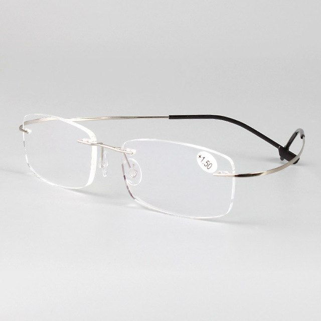 Rimless memory titanium flexible eyeglasses Reading Presbyopic glasses magnifying glasses +1.0 +1.5 +2.0 +2.5 +3.0 +3.5 +4.0-modlily