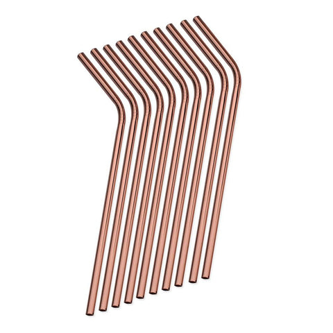 WOWSHINE New 4pcs/lot Shiny Rose Gold Color Stainless Steel Drinking Straws Rust Free Dia 6mm Bent with Gift 1 Brush 210MM