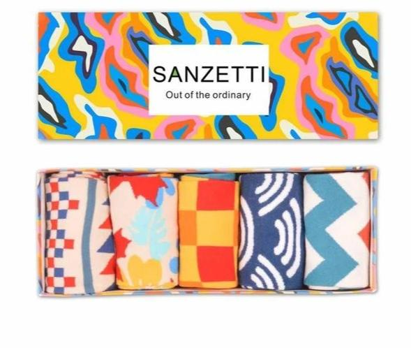 SANZETTI 5 pair/lot Gift Box Brand Men's Cotton Casual Socks Novelty Fashion Street Wear Colorful Funny Crew Skateboard Socks-modlily