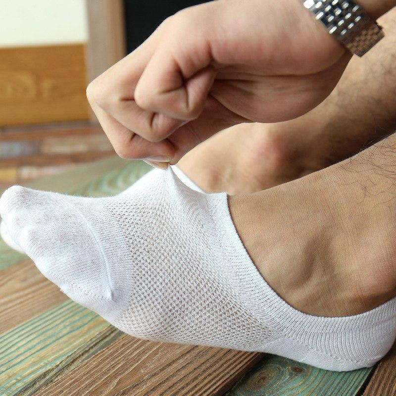 Ixuejie 5pairs/lot Mesh Socks Men Cotton Low Fashion Casual Breathable Summer Thin Slippers Mens Invisible Socks-modlily