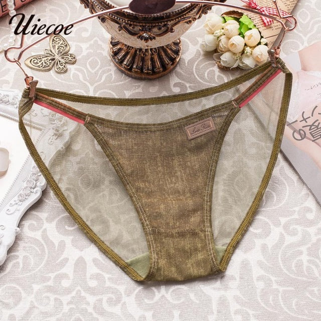UIECOE Women Net yarn Elastic Cowboy Lace Girl Briefs Transparent Sexy Female Panties 2017 Breathable Underwear for Young women-modlily