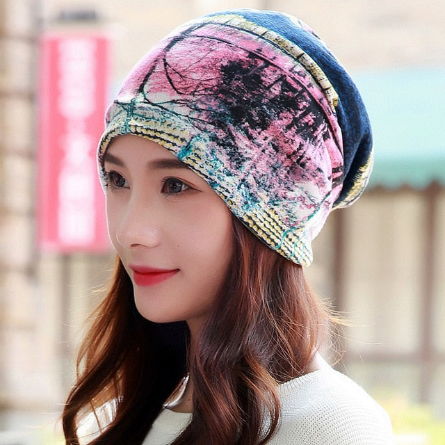 LongKeeper Women Hat Polyester Adult Casual Floral Women's Hats Spring Autumn Two Used Female Cap Scarf 3 Colors Fashion Beanies-modlily