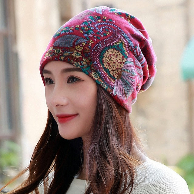LongKeeper 6 Colors Cotton Women Beanies Caps Spring Women Beanie Hat For Women Caps 3 Way To Wear Bonnet-modlily