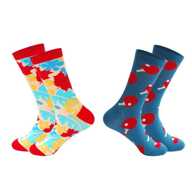 LIONZONE 2Pairs/Lot 2018 Spring Dress Funny Socks Men Geometric Figure Skate Wedding Novelty Cotton Long Crew Socks Art-modlily