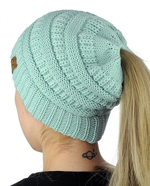 Fashion Women's Girls Stretch Knitted Wool Crochet Hats Caps Messy Bun Ponytail Beanie Holey Warm Hat Winter Warm Cap Beanies-modlily