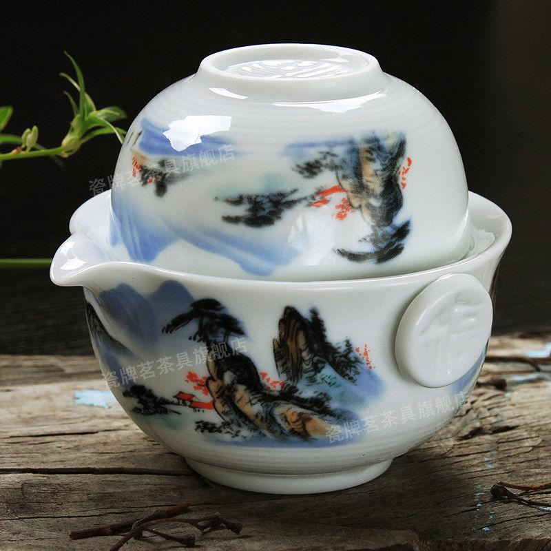 [GRANDNESS] Tea Set Include 1 Pot 1 Cup, High Quality Elegant Gaiwan,Beautiful and Easy Teapot Kettle Tea Pot-modlily