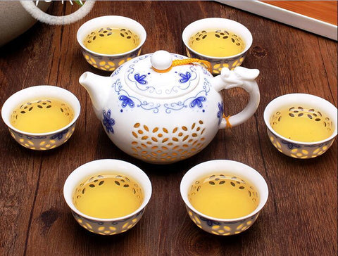 XBEES Blue White Exquisite Ceramic Teapot Kettles Tea Cup Porcelain Chinese Kung Fu Tea Set Drinkware