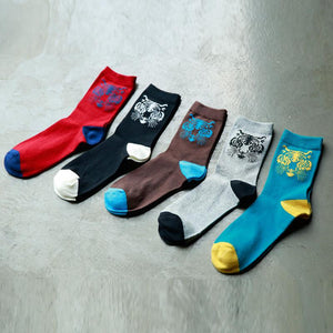 New Fashion Animal Tiger Cotton Man Socks Harajuku 5 Colors Breathable Casual Crew Domineering Tiger Part Art Sock Male Modern-modlily