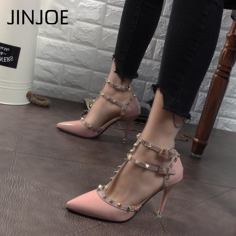 Sexy Hasp Rivet heels Female leather high-heeled pumps Stiletto heel 9 cm Pointed Toe Hollow Ventilation Shoes woman Rivet shoes-modlily