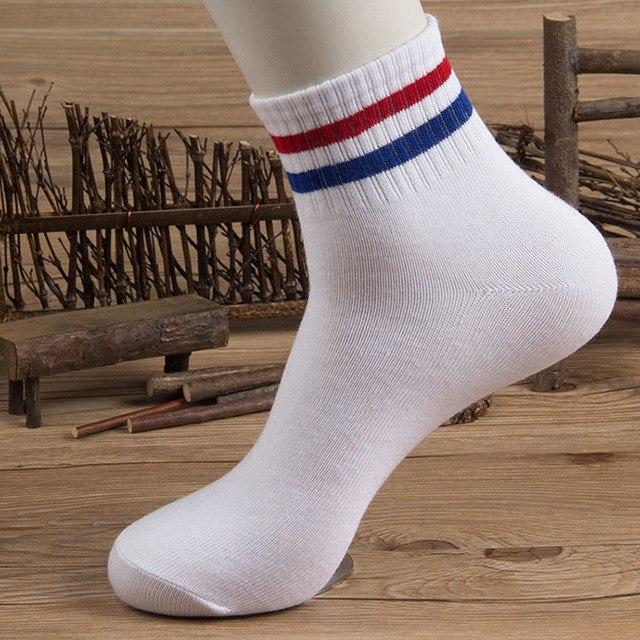 5 Pairs/lot Men's Sock Casual Stripe Cotton Socks Couples Summer Spring Stretchy Socks Male Anti-friction Absorbent Short Sock-modlily