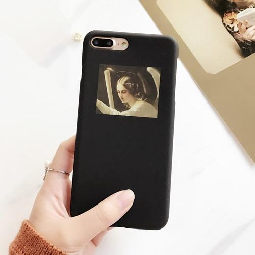 LOVECOM Fashion Retro Oil Painting Abstract character Matte Hard PC Phone Case For iPhone 6 6S 7 8 Plus X Back Cover Bag-modlily